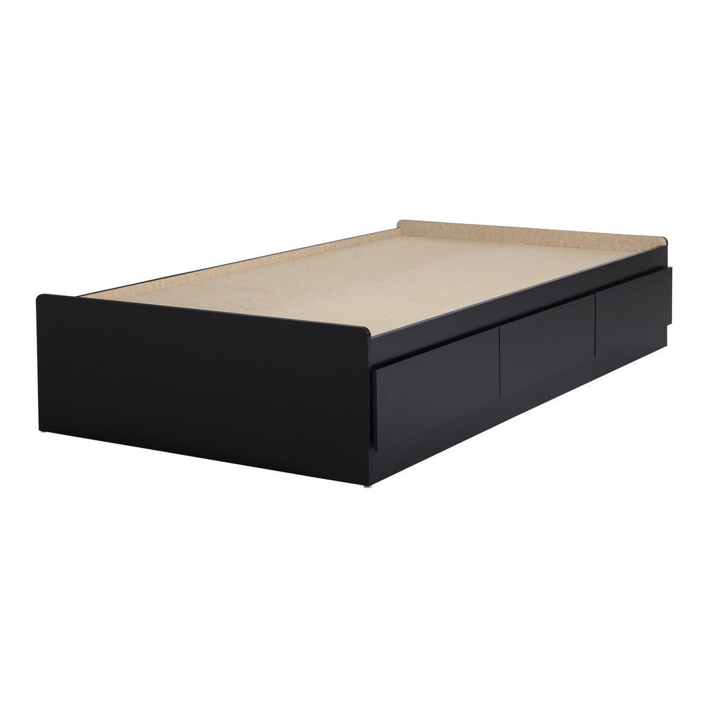 "Vito Twin Mates Bed (39"") with 3 Drawers, Pure Black"