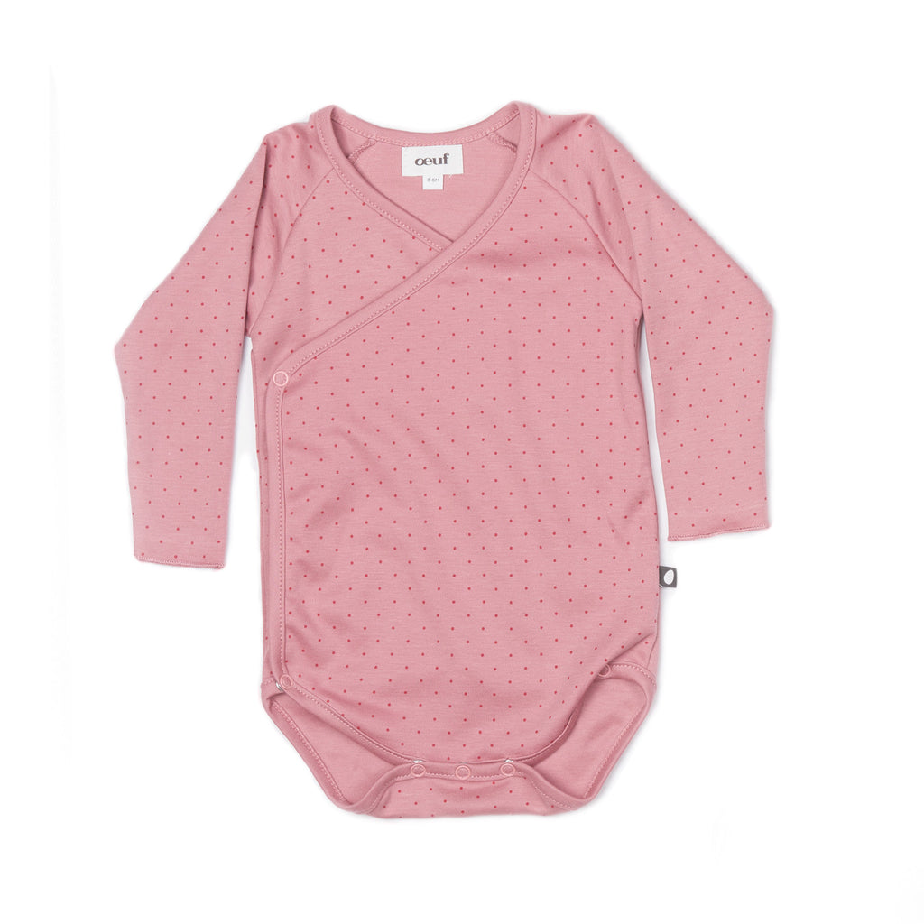 Organic Pima Cotton Kimono Bodysuit  Pink with Red Dots