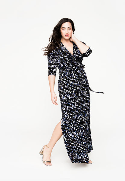 Perfect Wrap Maxi Dress in Summer Night (Full Figure)