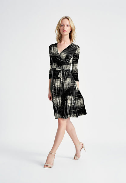 Perfect Wrap Dress in Rendered Windowpane Ivory