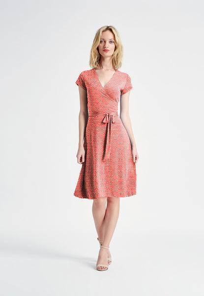 Cap Sleeve Faux Wrap Dress in Montauk Red