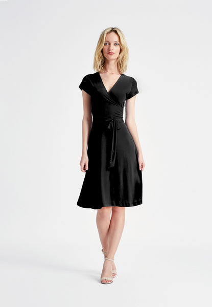 Cap Sleeve Faux Wrap Dress in Black Crepe