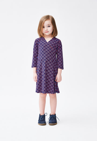 Perfect Wrap Dress in Fleur De Lis (Children)