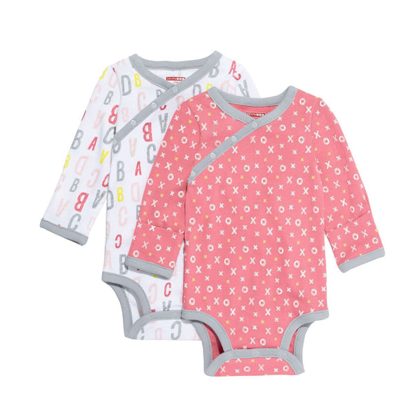 ABC-123 Long Sleeve Bodysuit Set - Pink