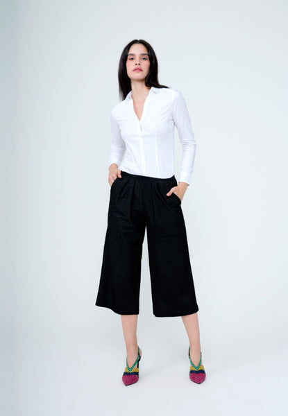 Kylie Culotte in Black Crepe