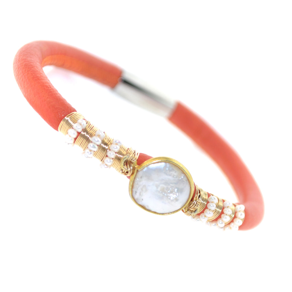 Single Orange Pearl Leather Bracelet