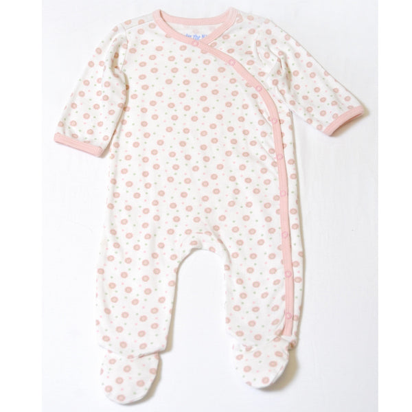 Side Snap Footie - Pink Dot