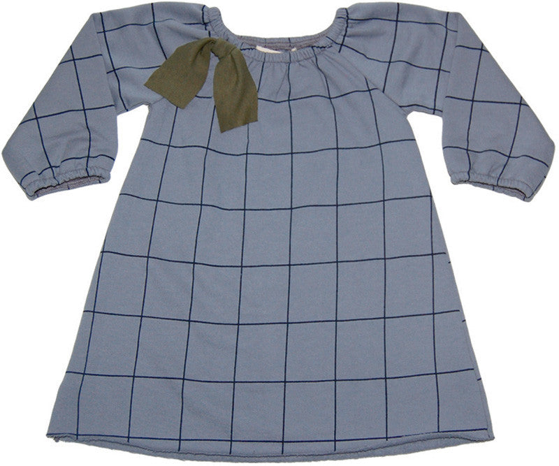 Sweet Raglan Dress  Silver Grid
