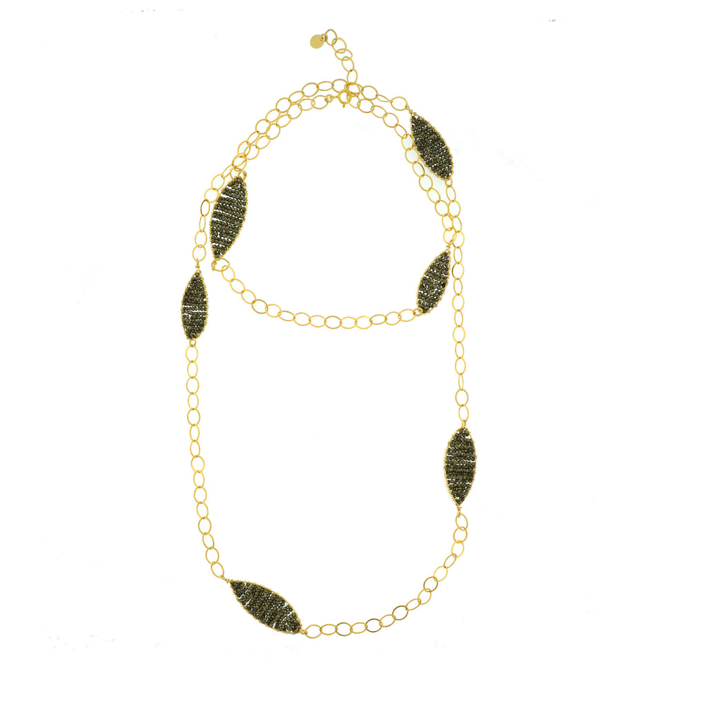 Pyrite Woven Leaf Necklace