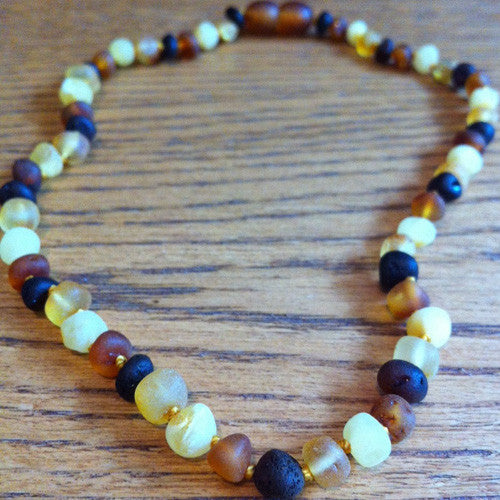 Baby Baltic Amber Teething Necklace - Raw Baroque