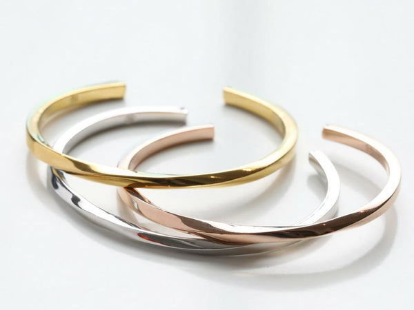 Thin Twist Cuff in Gold, Rose Gold & Silver
