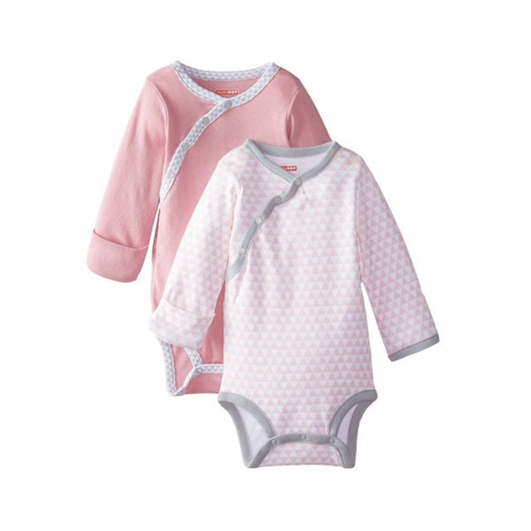 Skip Hop Petite Triangles Pink Side Snap Long Sleeve Bodysuit