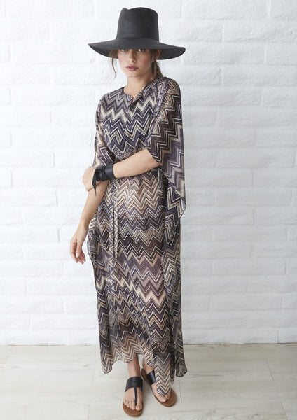 Herringbone Silk Long Sheer Caftan in Brown and Black