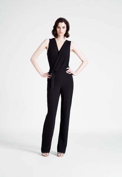 Lizzie Jumpsuit in Black Crepe