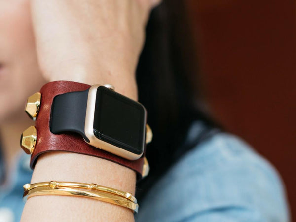 Studded Leather Cuff for the Apple Watch