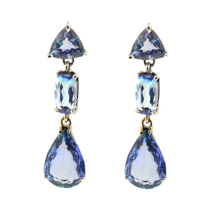 3 Tall Tanzanite earrings in 14K white gold