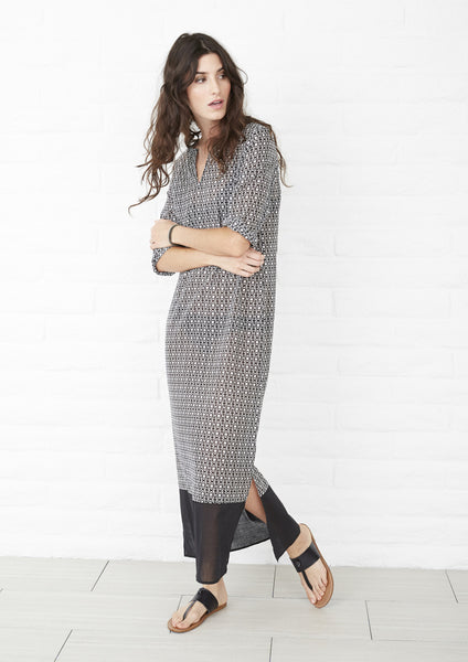 Geometric Print Black and White Long Cotton Tunic