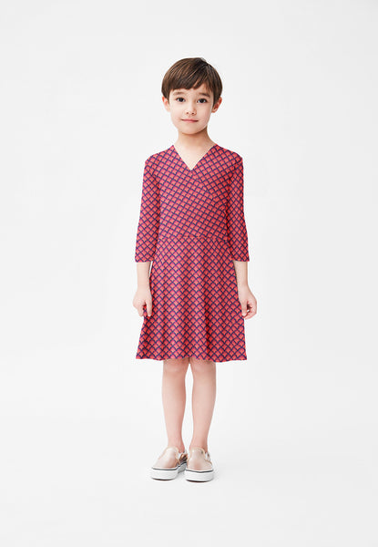 Perfect Wrap Dress in Coral Sunrise (Children)