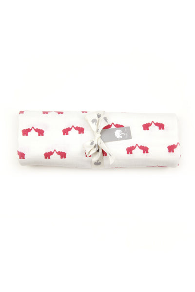 Elephant Muslin Swaddle Blanket