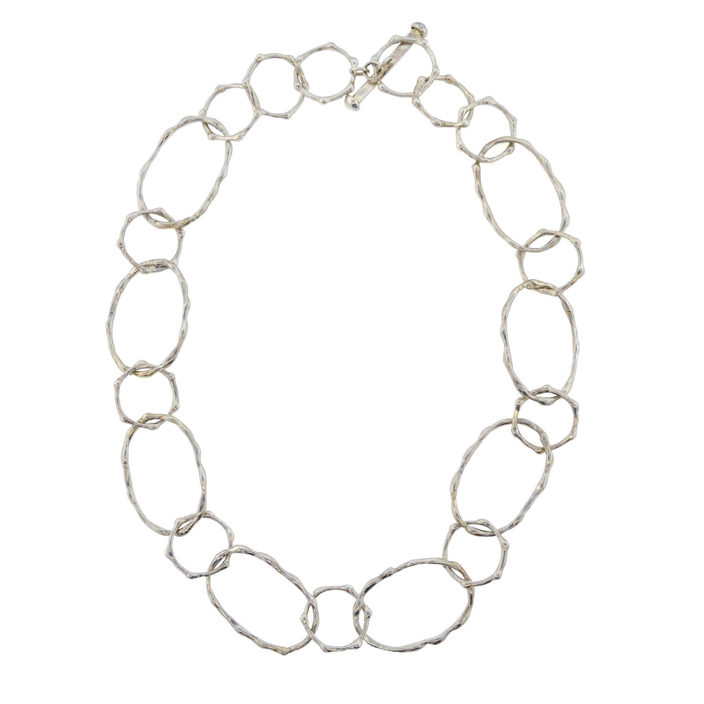 Bamboo Silver Link Necklace-Short