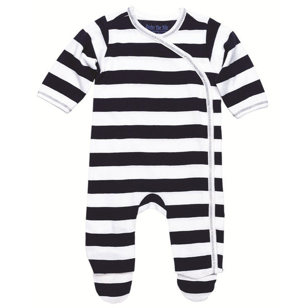 Side Snap Footie - Navy Rugby Stripe