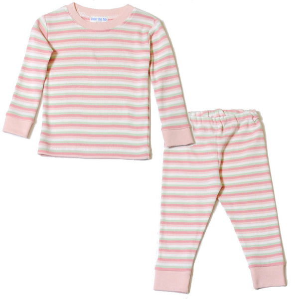 Baby Long Johns - Pink Green Cream Stripe