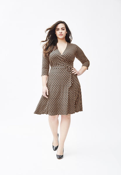Perfect Wrap Dress in French Braid Taupe (Full Figure)
