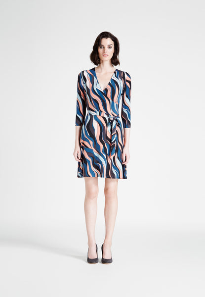 Perfect Wrap Mini Dress in Riviera