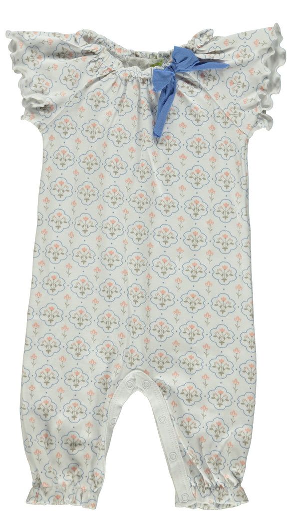 Ruched Bow Romper  Blue Floral