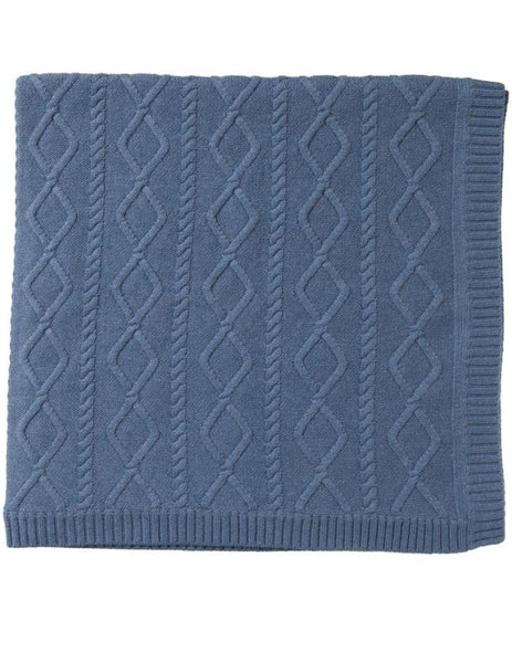 Blue Melange Cable Knit Blanket