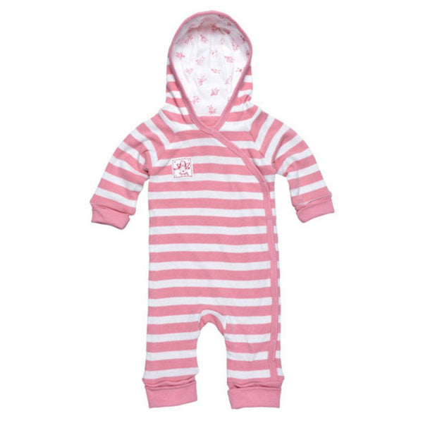 Lined Hooded Romper - Pink Stripes