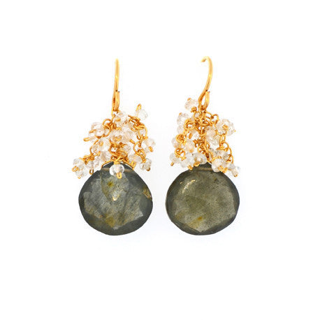 Moss Aquamarine with Moonstone Cluster Drop Earrings