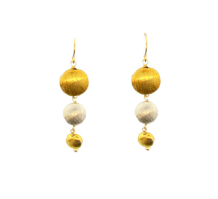 Mixed Metal Brush bead Earrings