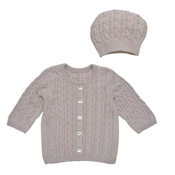 Under The Nile Cable Knit Cardigan & Hat Set - Cocoa