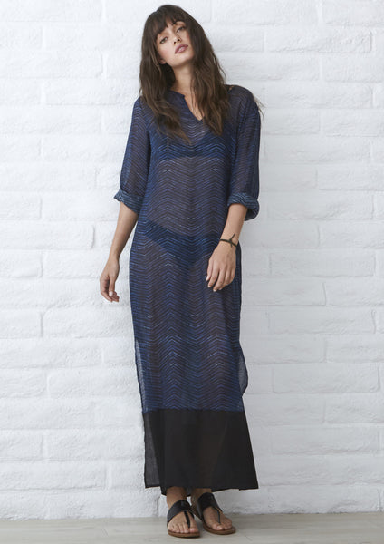 Blue Linen Herringbone Tunic