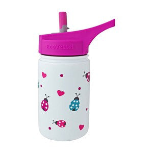 Stainless Steel Sippy with Straw  White Ladybug