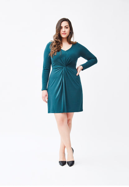 Long Sleeve Charlotte Dress in Hunter Crepe