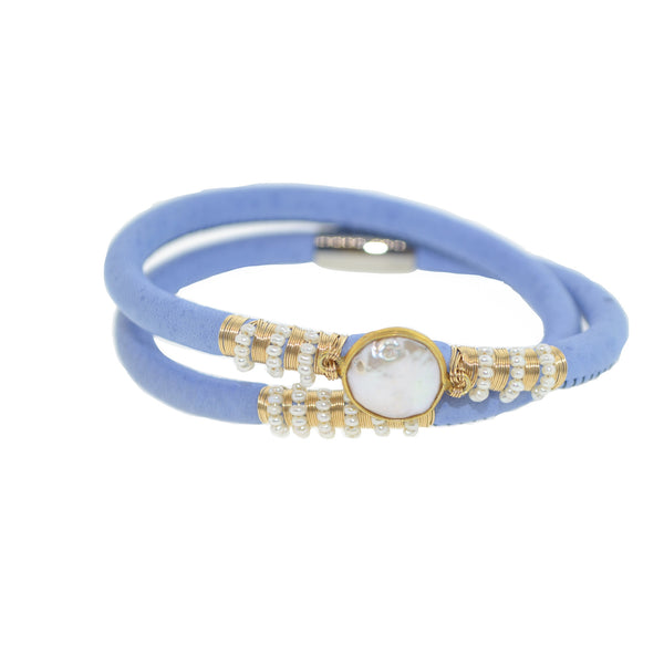 Double Pearl Leather Bracelet
