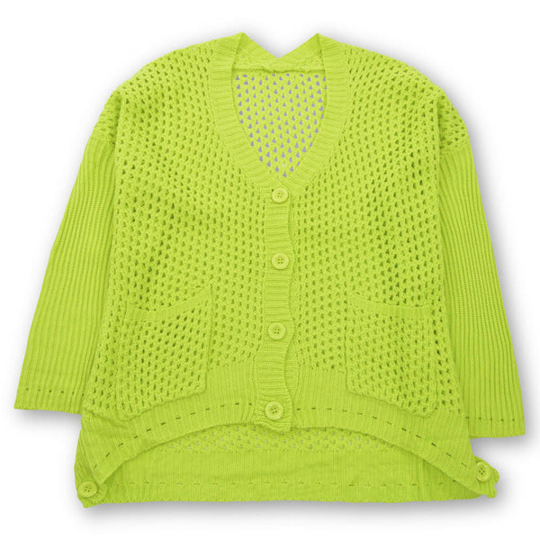 Mellie Mesh Cardigan - Chartreuse