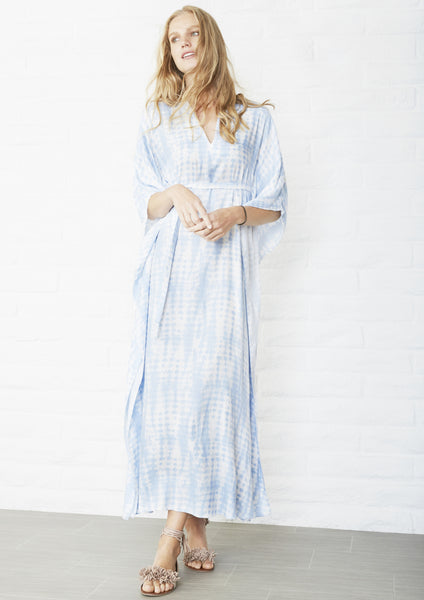 Cloud Print Long Cupro Caftan