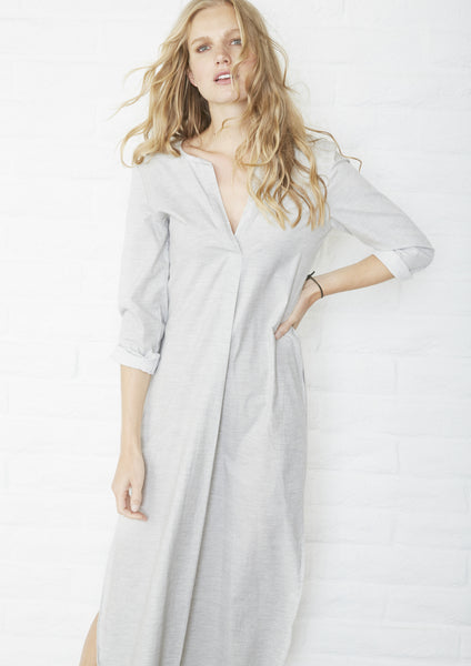 Long Grey Cotton Tunic with Pockets