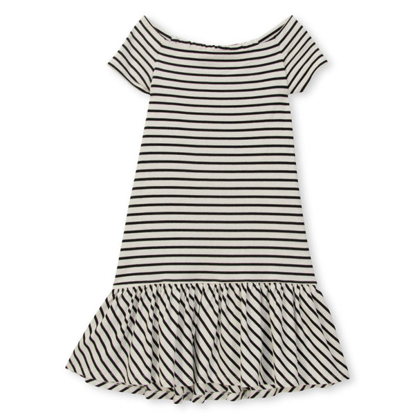 The Harbour Dress - Black /Ivory Stripe
