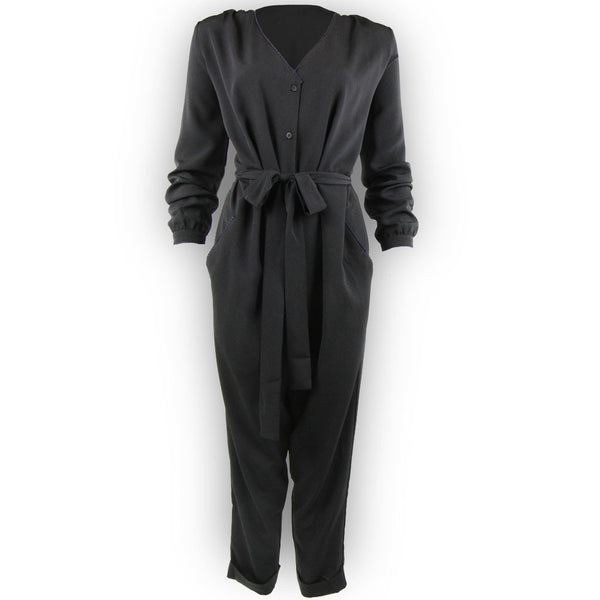 Emmanuelle Jumpsuit - Black with Navy