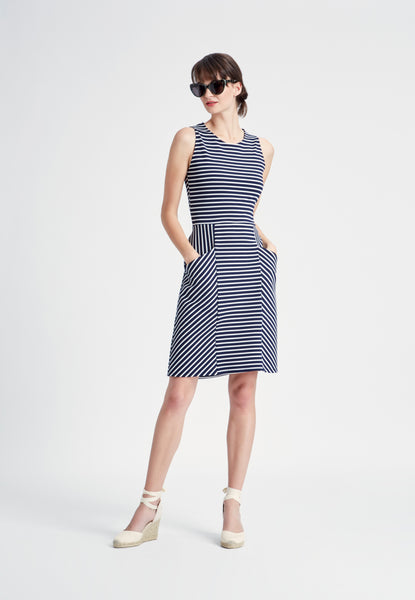 Panel Dress in Striped Ponte