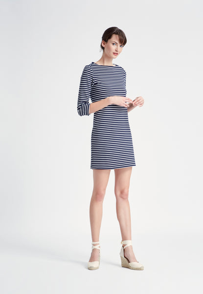 Elbow Sleeve Dress in Striped Ponte