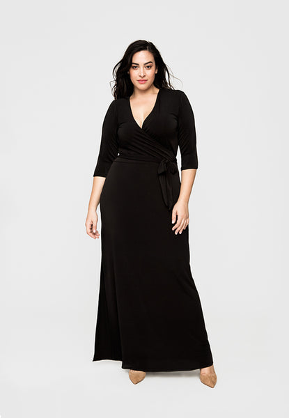 Perfect Wrap Maxi Dress in Black Crepe (Full Figure)