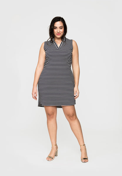 Sleeveless Shirt Dress in Striped Ponte (Full Figure)