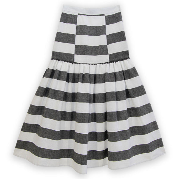 Drop Waist Midi Skirt - Black and White
