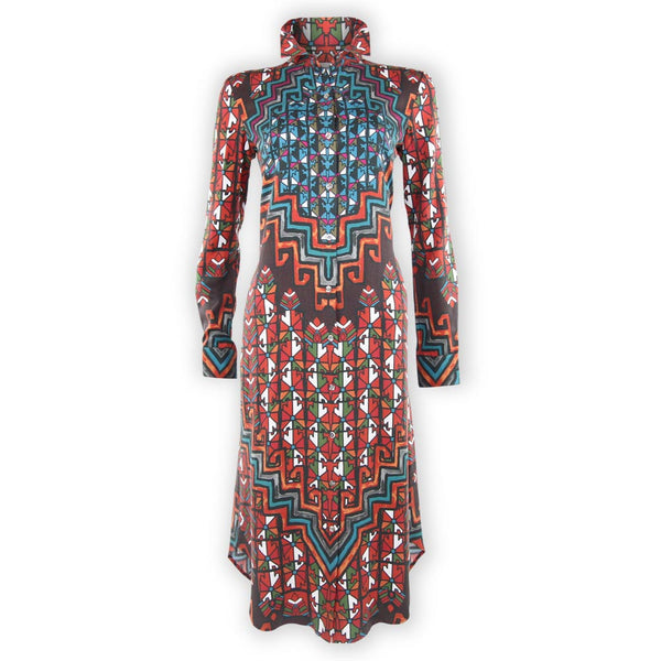Long Sleeve Shirt Dress - Bolnisi Rug Orange