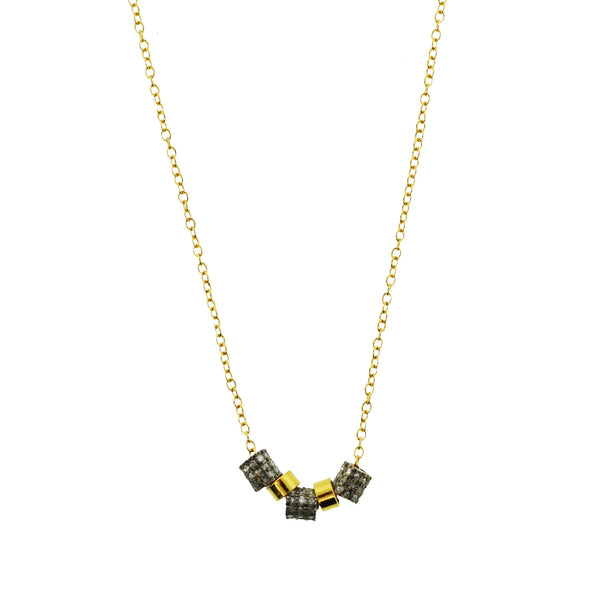 Pave Diamond and Gold Cone Necklace